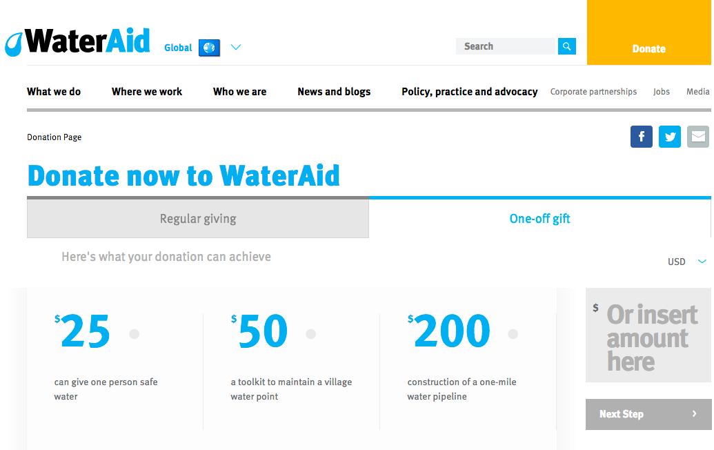 WaterAid donation landing page