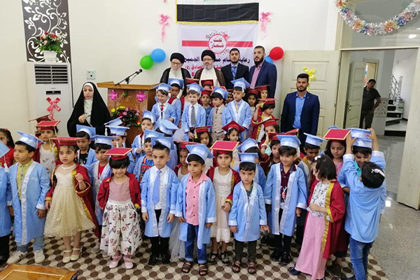 A class of children graduating