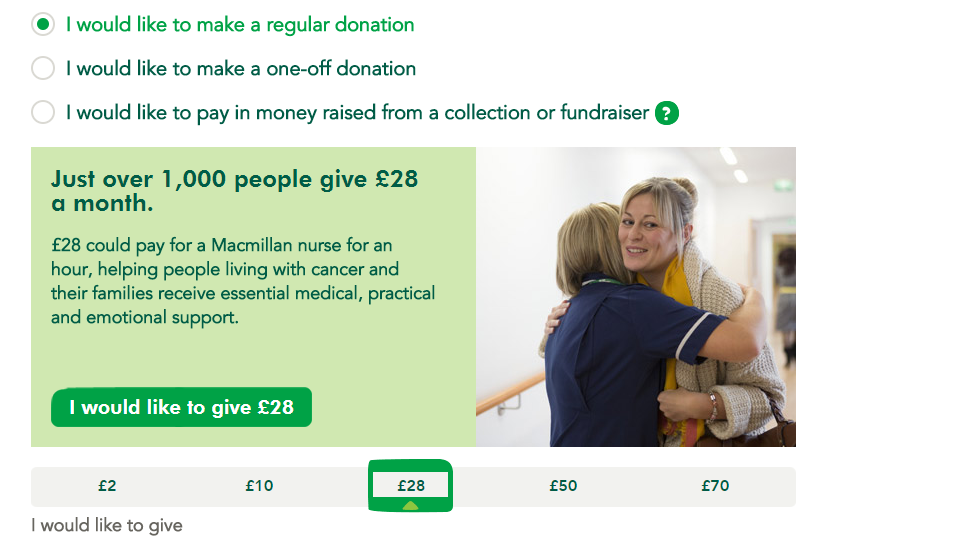 Macmillan donation form