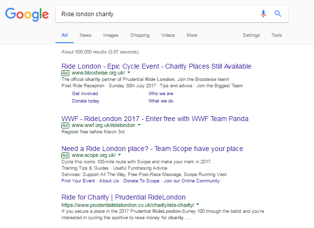 Ride London google screenshot