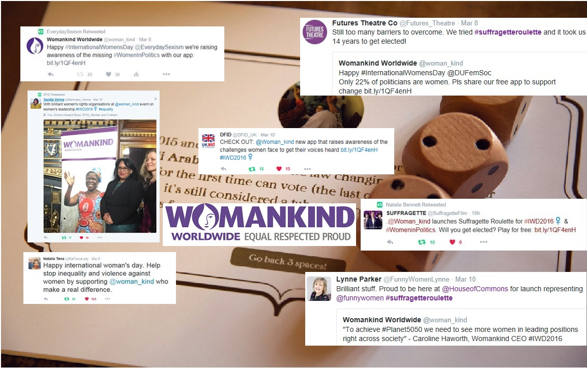 Snapshots on social media of Womankind Worldwide's campaign