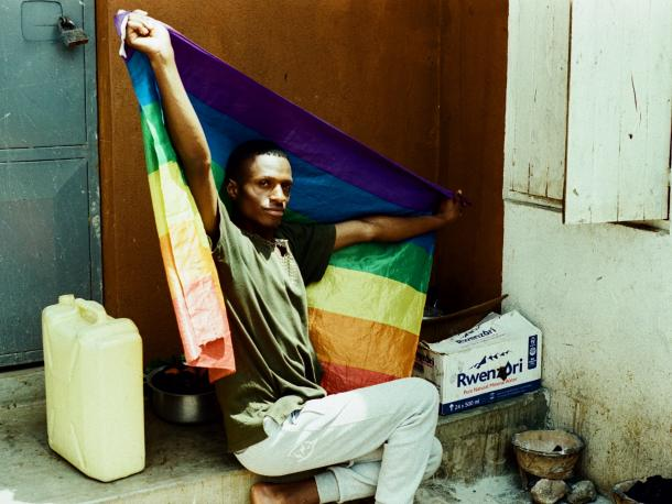 Man with an LGBTI pride flag