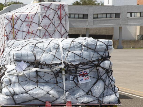UK aid for Typhoon Haiyan response arrives at Cebu airport in the Philippines