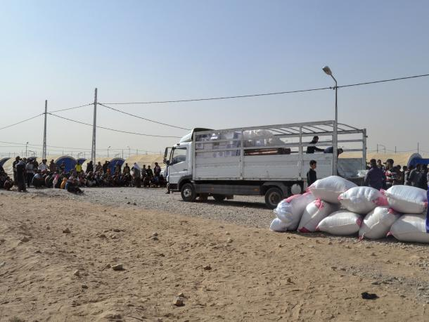 NFI (non-food items) distribution takes place inside of Jadah camp