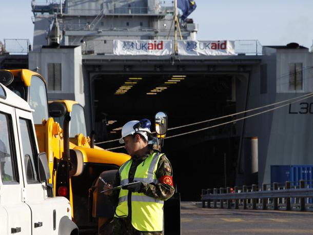 UK aid for Haiti being loaded onto a Royal Fleet Auxillary ship