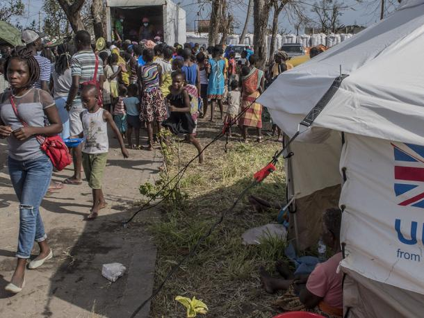 UK aid tents providing shelter for people who've lost their homes to Cyclone Idai in Mozambique
