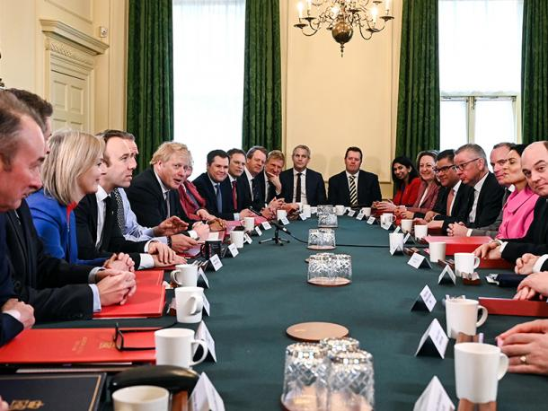 UK Prime Minister Boris Johnson holds his first Cabinet meeting since his reshuffle in the Cabinet Room
