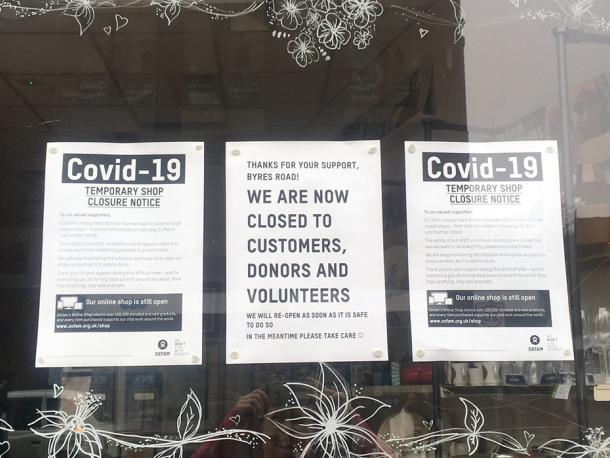 Oxfam, Byres Road, Coronavirus sign