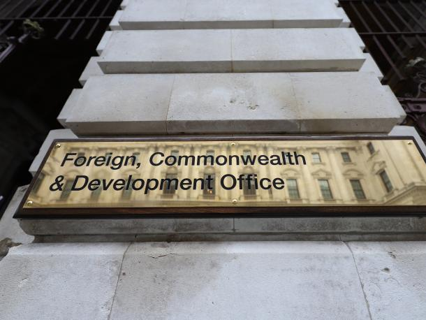 Sign for the Foreign, Commonwealth & Development Office outside its building