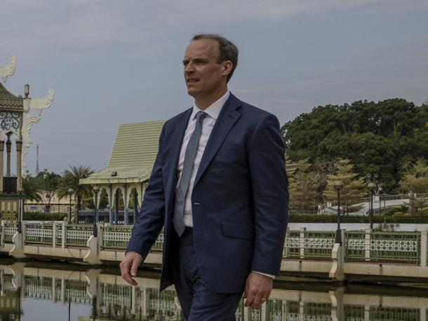 Foreign Secretary Dominic Raab attends the UK-ASEAN Foreign Ministers meeting alongside, Dato Erywan, Brunei's Foreign Minister at the International Convention Centre in Bandar Seri Begawan, Brunei.
