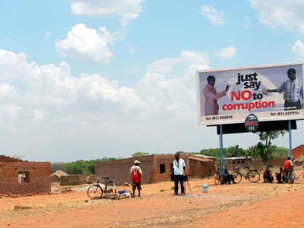 anto-corruption sign in Zambia