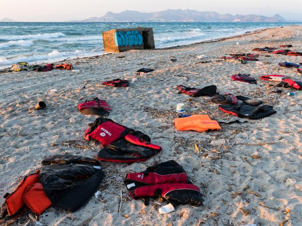 Abandoned lifejackets on a beach