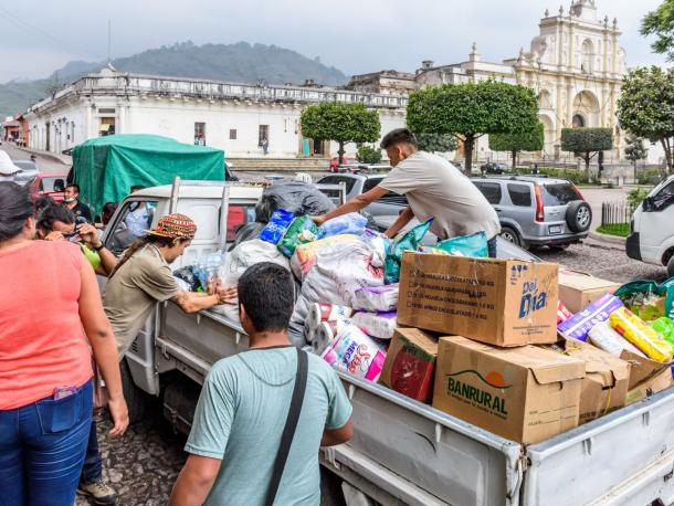 Humanitarian aid after Fuego volcano eruption, Antigua, Guatemala