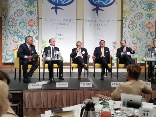 An all-male panel at the Global Summit of Women