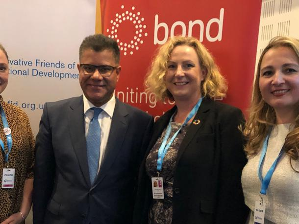 Bond CEO Stephanie Draper with secretary of state for international development Alok Sharma