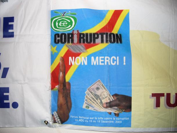 Corruption, non merci sign in Democractic Republic of Congo