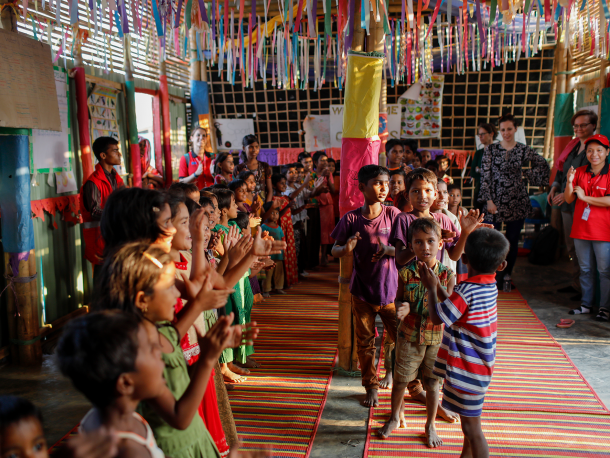Rohingya refugee children participate in recreational activities in a Child Friendly Space run by Save The Children.