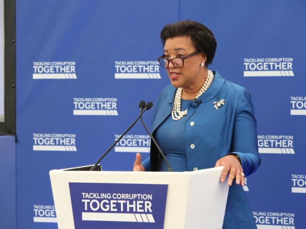 Baroness Scotland speaking at the Tackling Corruption Together conference