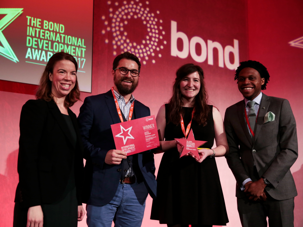 Restless Development team winning the Bond transparency award