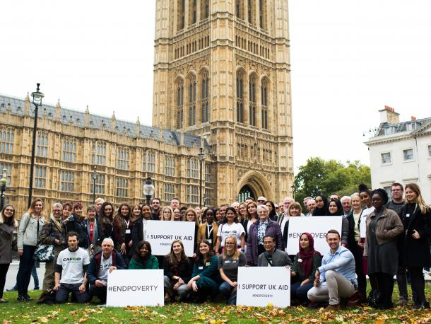 UK aid supporters in Westminster