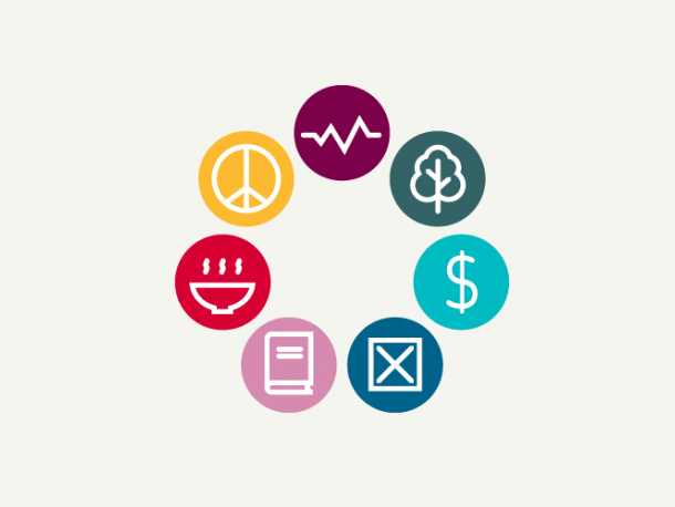 graphic of peace sign, heartbeat, tree, dollar sign, bowl, book and cross box