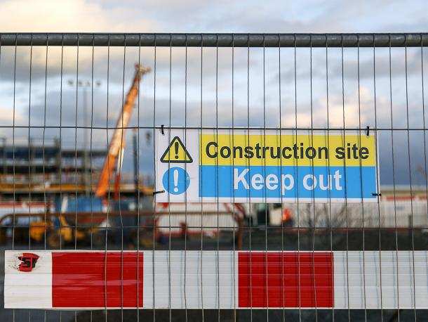 Construction site with keep out sign