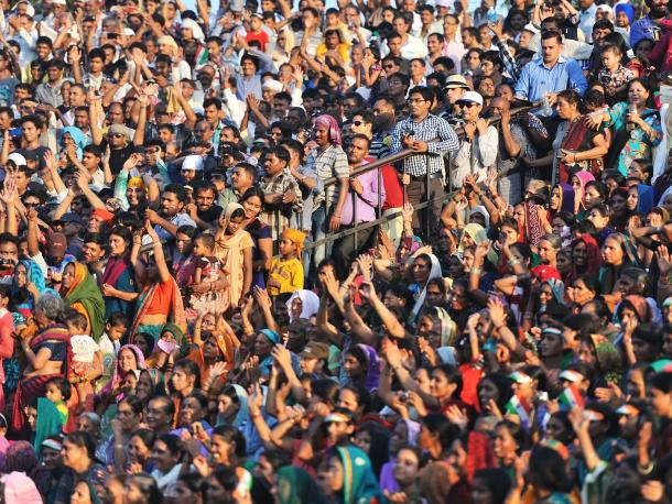 Crowd of people in India