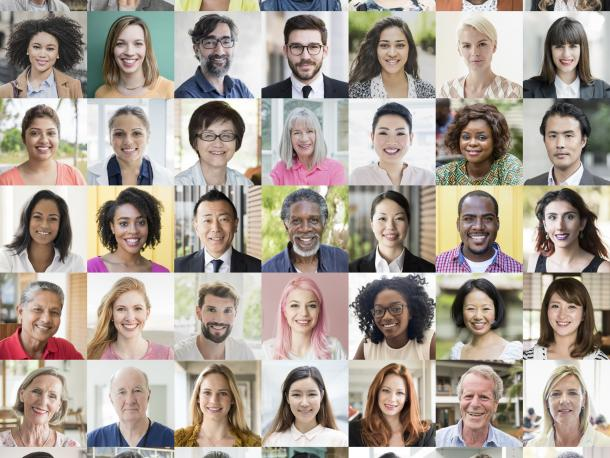 Collection of bio photos of diverse people from around the world