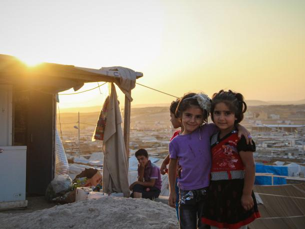 Young Syrian refugees in Domiz refugee camp, northern Iraq