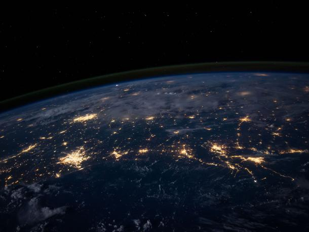 Views of cities lit up at night from space