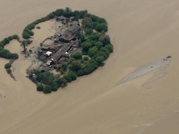An aerial view of flooding in Sukkur, northern Sindh