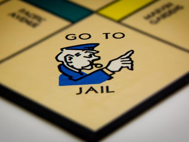 Go to jail square on monopoly board