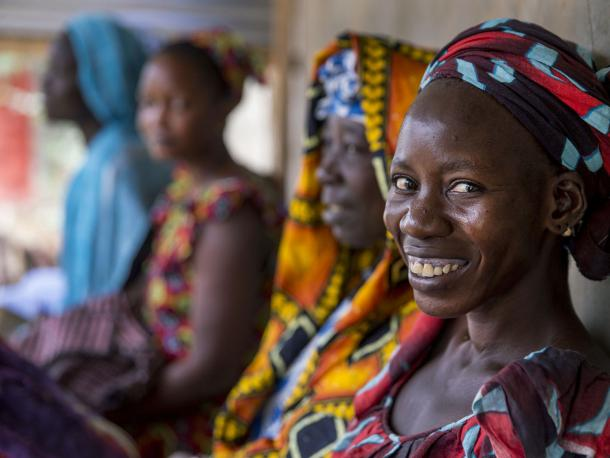 Women waiting at health clinic in Laniar, Senegal