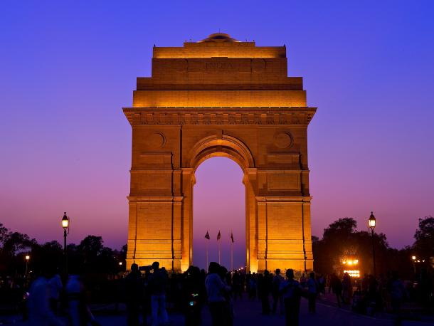 The India Gate in New Delhi at night