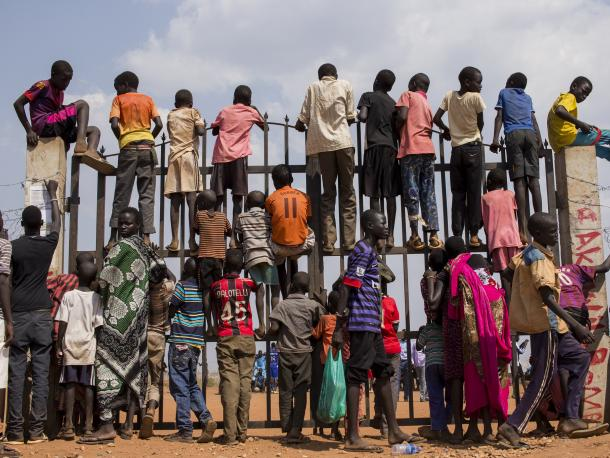 Internally displaced children from a camp in Juba, South Sudan.