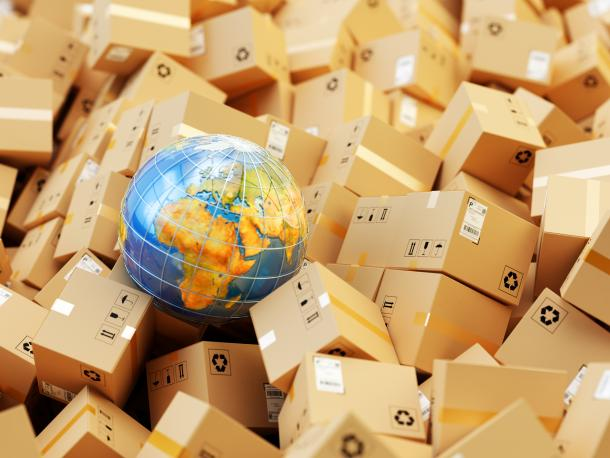 Globe surrounded by boxes