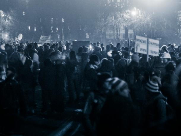 Anti-corruption protesters in Eastern Europe.