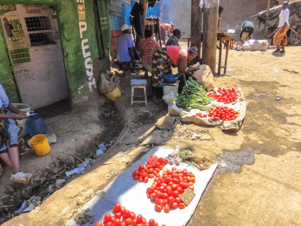 Women selling fruit and vegetables near Nairobi.