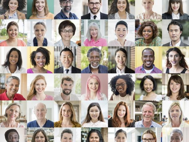 Headshots of diverse people from around the world