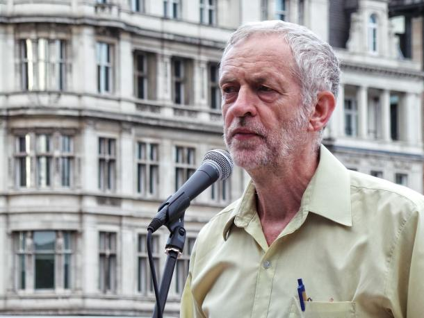 Jeremy Corbyn speaking at the No More War event in August 2015