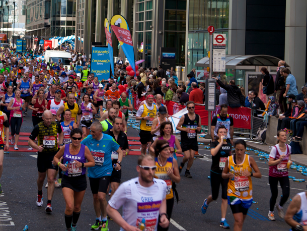 Runners on the street in the London marathon