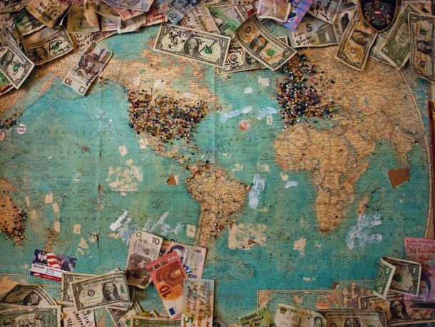 Map of the world with different currencies