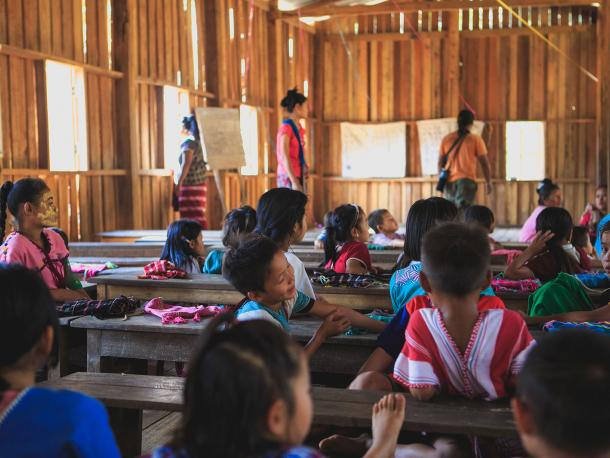 Children in school in Myanmar
