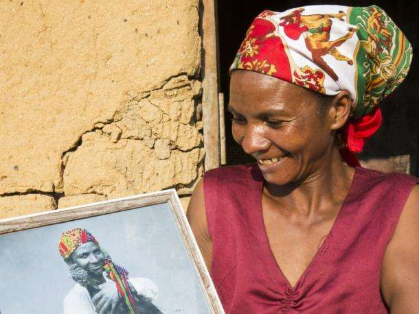 "This is amazing, I love it."" Portrait of Veronique Eulalie Rasoarimanana outside her home in Madagascar."