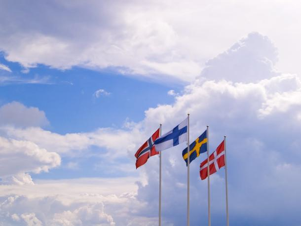 Nordic flags of Norway, Finland, Sweden and Denmark