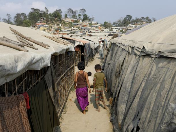 Refugees in Unchiprang camp in Cox's Bazar, Bangladesh