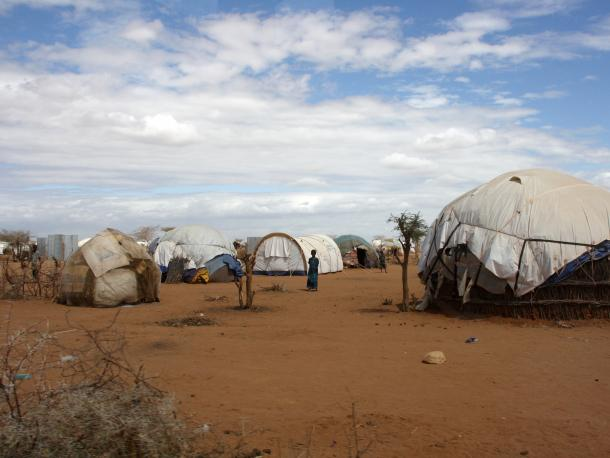 Refugee shelters in the Dadaab camp northern Kenya