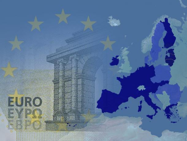 Map of EU laid over Euro note