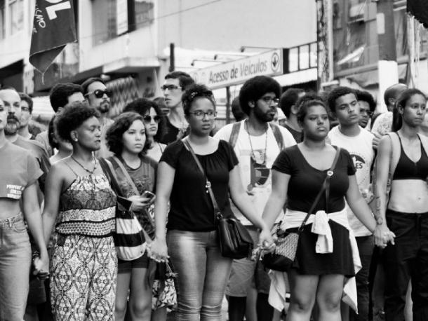 Women marching during a feminist act on Avenida Paulista