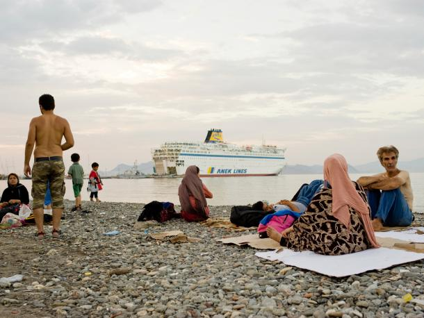Syrian refugees on a beach